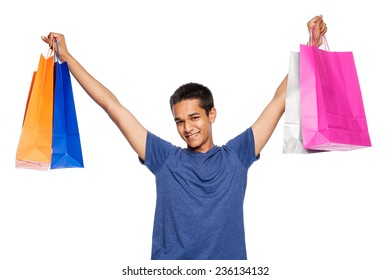 Happy shopper. Studio shot, isolated on white background.