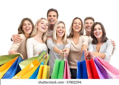 Happy shopping shopping. Isolated over white background