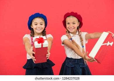 Happy shopping online. Birthday and christmas presents. International childrens day. big sale in shopping mall. friendship and sisterhood. small girl children with shopping bags. In shopping store.