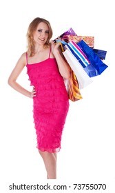 Happy Shopping Woman isolated on white