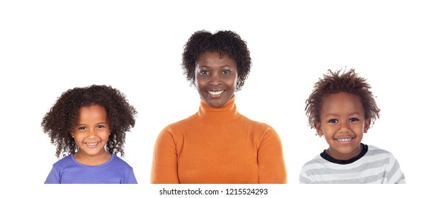 Happy single-parent family isolated on a white background