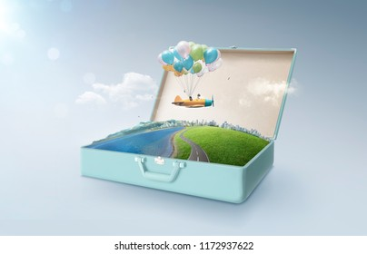 Happy sister enjoy with fantasy colorful balloons plane fly and floating in an open retro vintage suitcase isolated on light blue background . Travel and vacation concept.