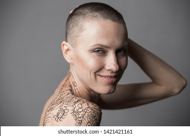 Happy Skinhead woman portrait happy smiling