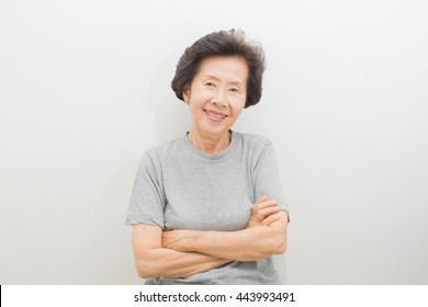 happy smailing old Woman Portrait  with text space.