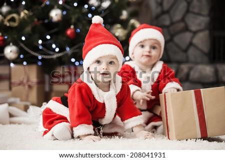 d783ffc0903 Happy Small Boys Santa Hat Present Stock Photo (Edit Now) 208041931 ...