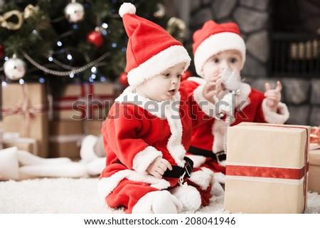 3094673da13 Happy Small Boys Santa Hat Present Stock Photo (Edit Now) 208041946 ...