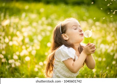 Happy small girl blowing dandelion flower outdoors. Girl having fun in spring park. Blurred background in sunset