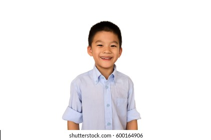 happy and Smart Asian boy isolated on white background.