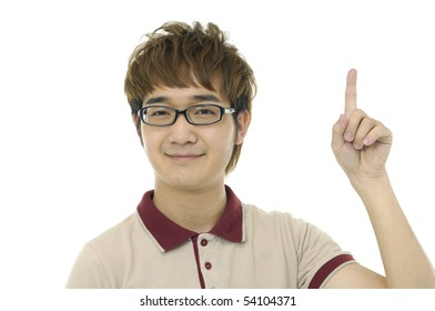 Happy smart man pointing up over white background