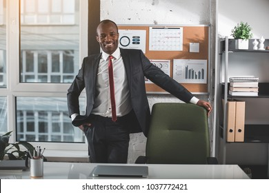 Happy smile. Portrait of optimistic young african businessman in suit is standing near chair in office. He is looking at camera with joy