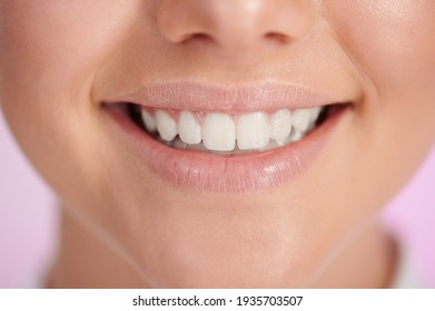 Happy smile with white teeth macro close up view