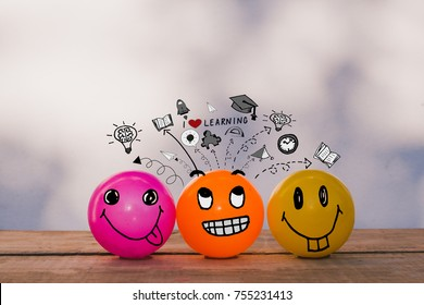 Happy smiley yellow ball , orang ball and pink ball making playful face with education and learning doodles - I love learning concept