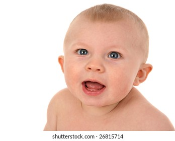 Happy Smiling 6-month Old Baby Portrait on White background