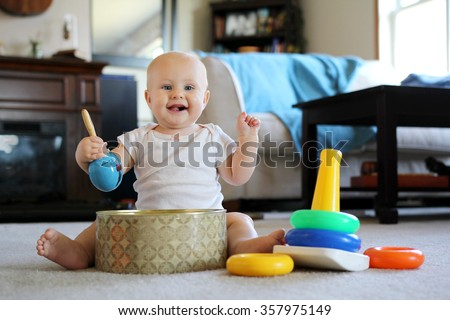 Best Baby Toys For 8 Months Old : Happy smiling 8 month old baby stock photo edit now 357975149