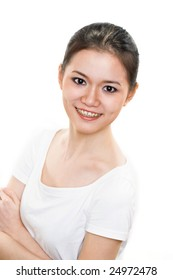 happy smiling asian young woman with braces