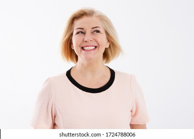Happy smiling beautiful woman face close up
