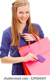 happy smiling blonde woman with shopping bags and blank  business card over white background