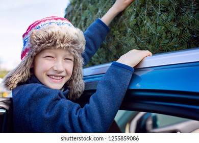 happy smiling boy christmas tree shopping, taking the tree off car roof, enjoying magical time