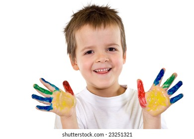 Happy smiling boy with painted hands - isolated