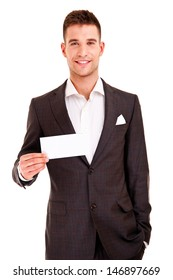 Happy smiling business man showing blank signboard, isolated