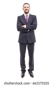 Happy smiling businessman in grey suit on white background