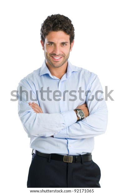 Happy smiling businessman looking at camera with satisfaction, isolated on white background