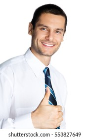 Happy smiling businessman with thumbs up gesture, isolated on white background. Success in business, job and education concept studio shot.