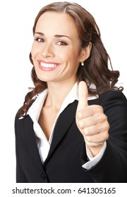 Happy smiling businesswoman showing thumbs up gesture, isolated on white background. Success in business concept.
