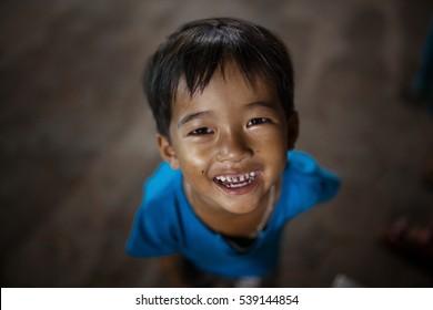 Happy and smiling cambodian boy. Photo made November 26, 2016.
