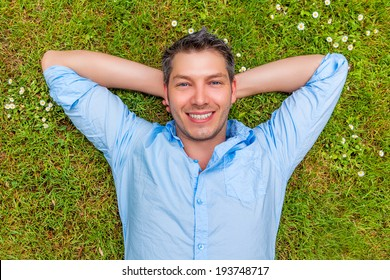 happy smiling carefree man relaxing
