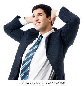 Happy smiling cheerful thinking or planning young businessman, isolated over white background. Success in business and education concept.
