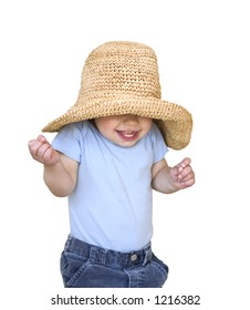 happy smiling child in a big hat isolated on white