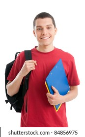 Happy smiling college student isolated on white background