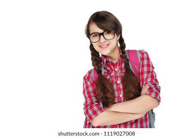 Happy smiling confident schoolgirl with crossed hands
