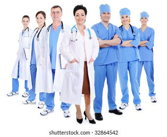 happy smiling doctors and surgeons - isolated on white background
