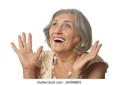 Happy smiling elderly woman portrait on white background