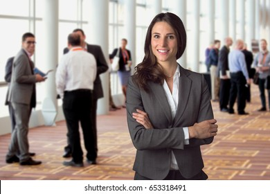 Happy smiling employee professional at social networking event independent leader