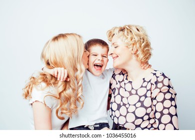 happy smiling family together posing cheerful on white backgroun