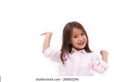 happy, smiling female asian caucasian kid playing