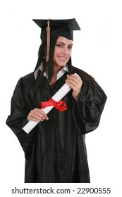 Happy Smiling Female Student Graduate Holding Diploma Isolated