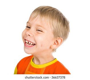 happy smiling five-year-old boy without one tooth