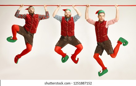 The happy smiling friendly men dressed like a funny gnome or elf hanging on an isolated gray studio background. The winter, holiday, christmas concept