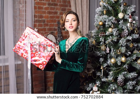Happy Smiling Girl Christmas Gift Box Stock Photo (Edit Now ...