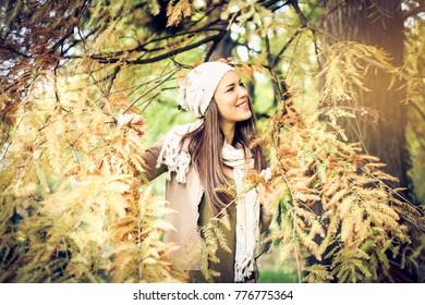 Happy smiling girl enjoying in day.