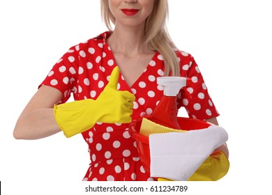 Happy smiling housewife holding cleaning tools and showing thumbs up isolated on white background. Cleaning service, housekeeping concept