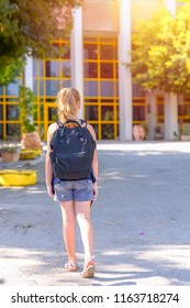 Happy smiling kid Back to school. Child little girl with bag go to elementary school. Child of primary school. Pupil go study with backpack.