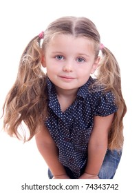 Happy smiling little girl isolated on white background in studio