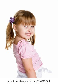 happy smiling little girl on white background in studio