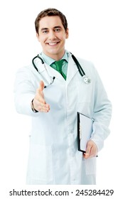 Happy smiling male doctor with green tie, giving hand for handshake, isolated against white background