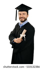 happy smiling male graduate with diploma isolated on white